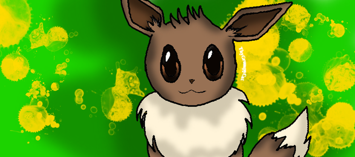 Eevee with background by PerfectlyPastel