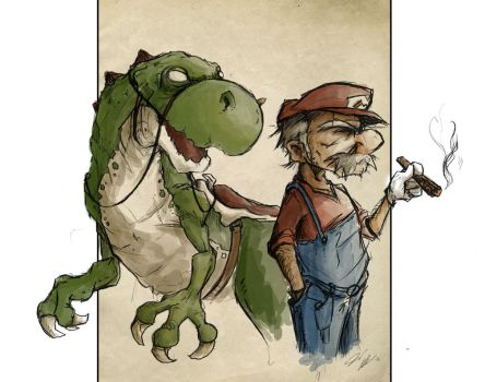 Mario and Yoshi by Domiticus