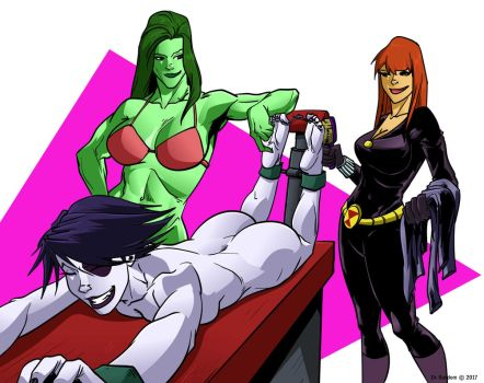 Domino tickled by She-Hulk and Black Widow by Dr-Willard