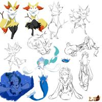 Doodles of Braixen and Primarina by Coffee-Ratteu