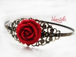 Gothic floral headband with red rose by Benia1991