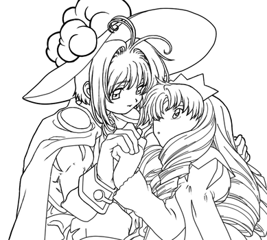 Sakura and Syaoran Lineart 2 by Hitokirisan
