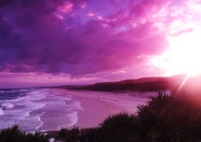 the sun sets over the beaches by Mafusaah