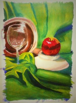 water color drawing by littler0undhead