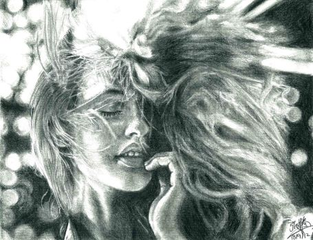 Pencil portrait of a pretty girl with hair blown by chaseroflight
