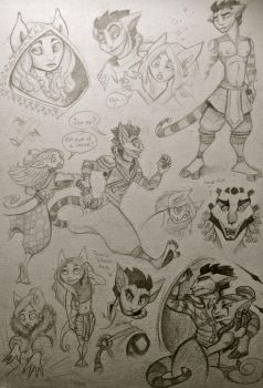 old character sketches by TheSphinxThinks