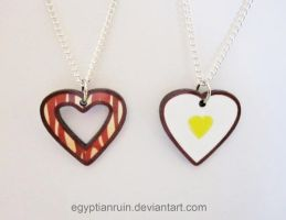 Bacon and Eggs BFF Necklace Set by egyptianruin