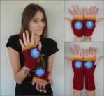 Iron Man Fingerless Gloves - Hand and Arm Warmers by RebelATS