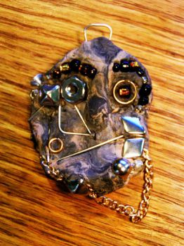 Clay Cyborg Face Pendant by golddew