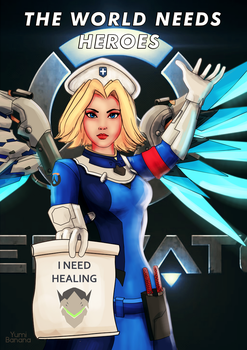 combat medic Mercy Overwatch by Yumi-Banana