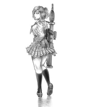 School Girl and Panzerfaust by MeganeRid