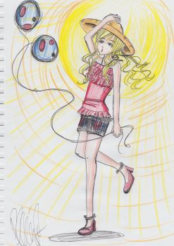 2 Air Ballons with a blonde girl by Pek-men
