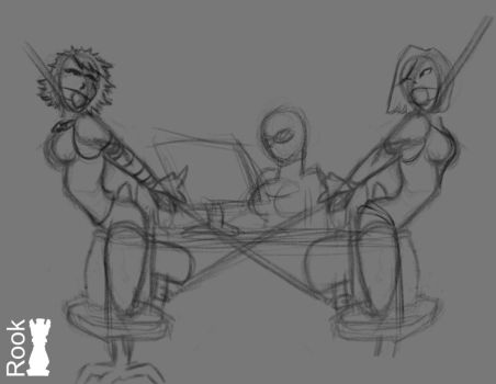 Dethany and Fi in bondage espionage sketch by Rook-07