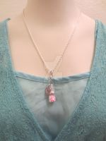 Pink Heart Fairy Bottle Necklace by LyraAlluse
