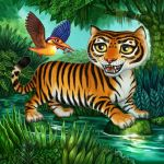 Tiger with Kingfisher for Tiger Stripes by feliciacano