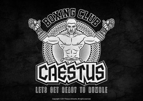 Caestus Boxing Club Emblem Logo (Black and White) by TrexycaArtworks