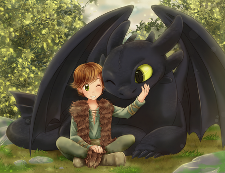 Hiccup and Toothless by chikorita85