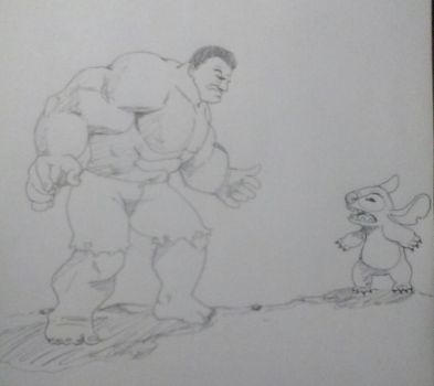 Hulk vs Stitch by justjakk