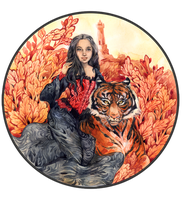 - Commission - Girl with a tiger - by Losenko