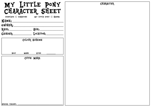 My little Pony Character Sheet Template V1.1 by TariToons