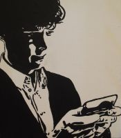Sherlock texting painting by BossHossBones