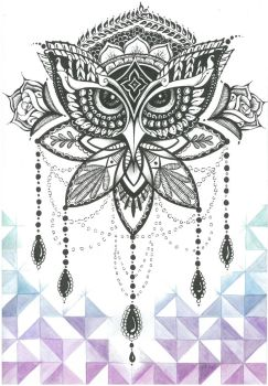 Ornate Owl - Hand inked and coloured by Jolene-eSousa
