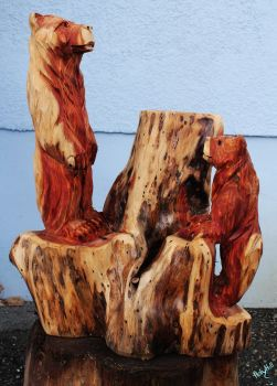 Red Bear Brothers by Chainsaw-M-Carvings