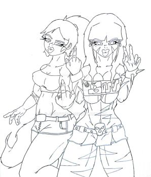 We Give Two F**ks...Peace (lineart) by J3soNyce83
