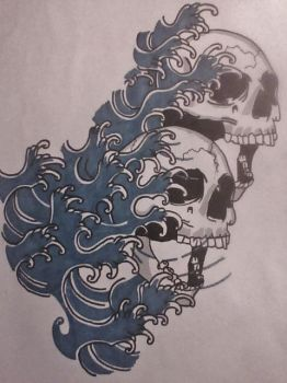 [finished] water waves with custom skull designs by gbftattoos