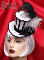 Harlequin Cabaret Stripe Mini Top Hat by ArtOfAdornment