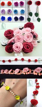 Polymer clay roses tutorial by Talty