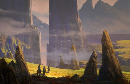 Landscape With Hats by Raphael-Lacoste