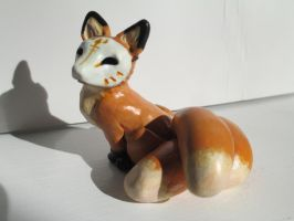 Masked Kitsune Fox ~ OOAK Sculpture by tallydragon