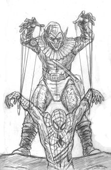 Spider hanging by a thread by artschoolreject