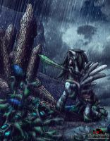 Here I stand, In the rain they fell by MetaDragonArt