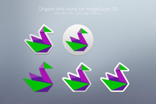 Origami bird icons for Image2icon or other apps by Zirifio