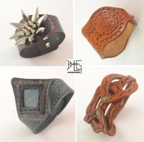 Four tooled leather bracelets by barlogg