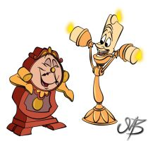 Lumiere and Cogsworth by venonsting