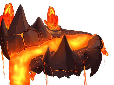 Stylized enviroment practice: Lava cave by DragonLoreStudios