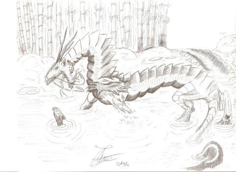 Asian dragon catching a fish by LeonopteryxDragon