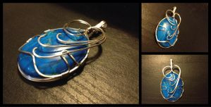 Turquoise Howlite Wire Wrapped Pendant by BlockheadGaming