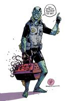 Abe Sapien and the Flaming Apparition. by TheWoodenKing
