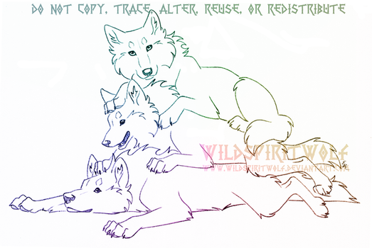 Silly Stacked Wolves - Sketch Commission by WildSpiritWolf
