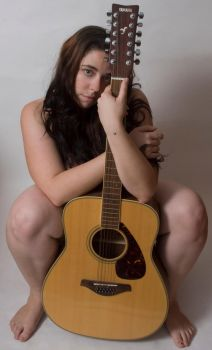 Nude with guitar and FACE by GoddessWillendorf
