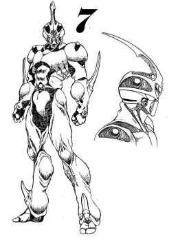 Guyver 7 Line art by lokicube