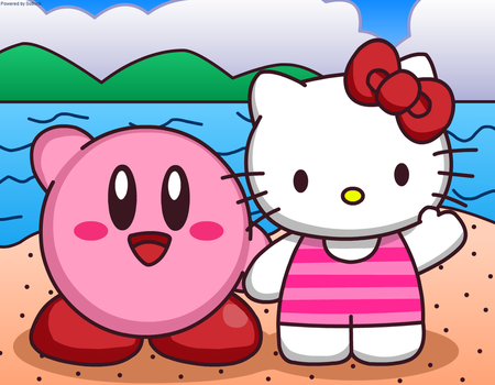 Kirby and Hello Kitty in Beach by Kittykun123