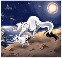Running on the moon by Midna01