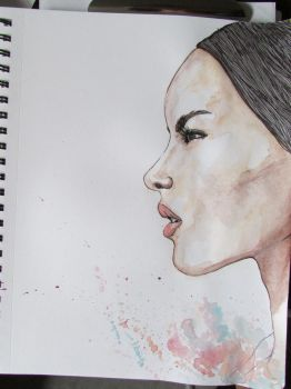 watercolor and pen by tomato39