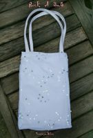 Handmade White Tote Bag by FranyaBlue