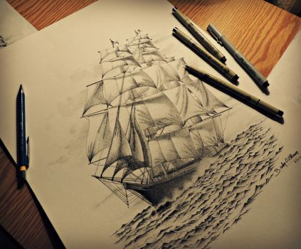 Pirate Ship (stippling) by bdrosama